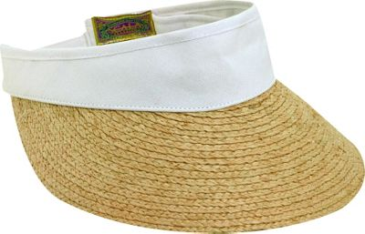 Scala Hats Raffia Visor Dyed Cotton Crown One Size - White - Scala Hats Hats/Gloves/Scarves