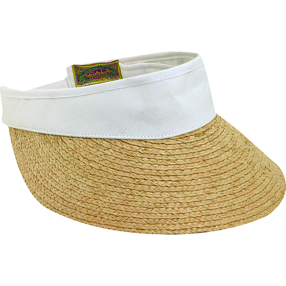 Scala Hats Raffia Visor Dyed Cotton Crown WHITE - Scala Hats Hats
