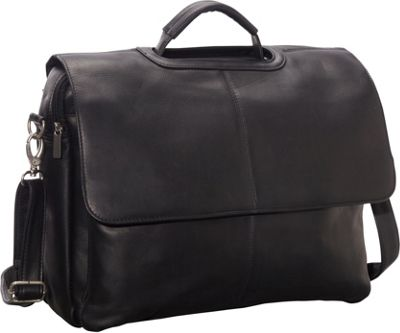 Le Donne Leather Flap Over Computer Brief Black - Le Donne Leather Non-Wheeled Business Cases