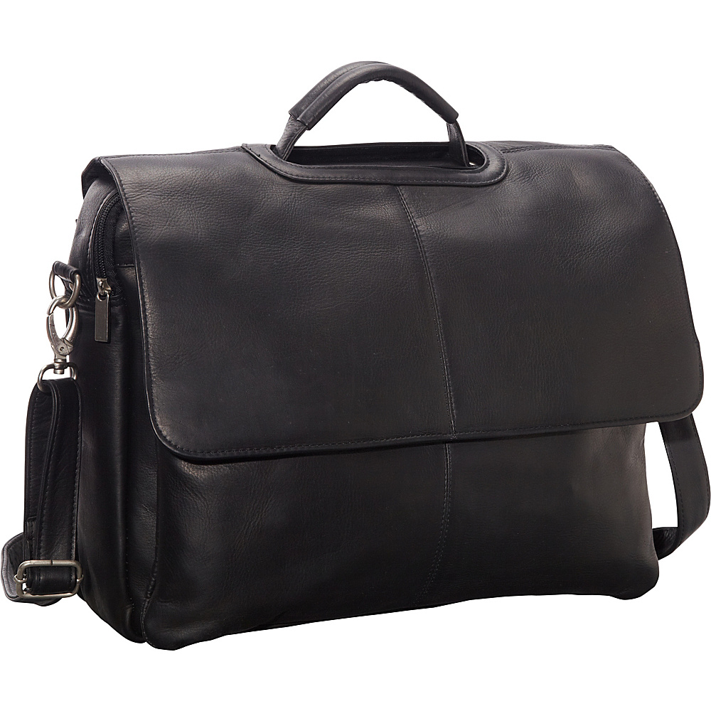 Le Donne Leather Flap Over Computer Brief Black - Le Donne Leather Non-Wheeled Business Cases - Work Bags & Briefcases, Non-Wheeled Business Cases