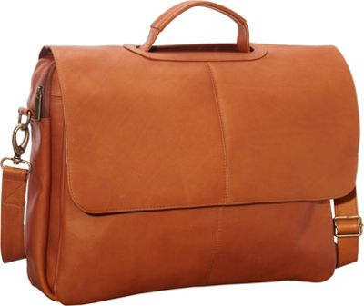 Le Donne Leather Flap Over Computer Brief Tan - Le Donne Leather Non-Wheeled Business Cases