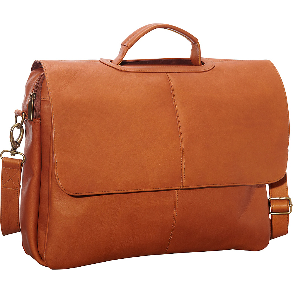 Le Donne Leather Flap Over Computer Brief Tan - Le Donne Leather Non-Wheeled Business Cases - Work Bags & Briefcases, Non-Wheeled Business Cases