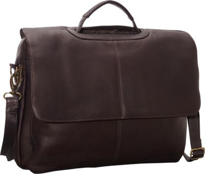 Le Donne Leather Flap Over Computer Brief Cafe - Le Donne Leather Non-Wheeled Business Cases