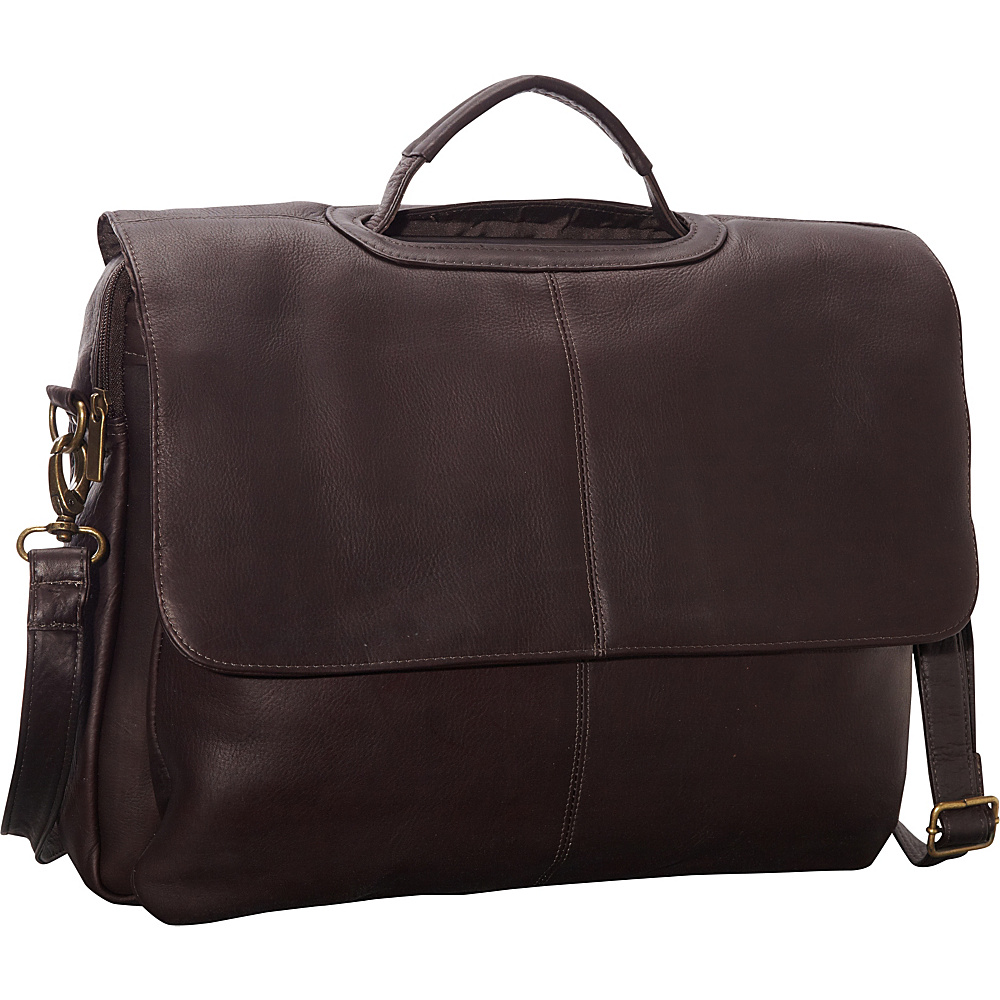 Le Donne Leather Flap Over Computer Brief Cafe - Le Donne Leather Non-Wheeled Business Cases - Work Bags & Briefcases, Non-Wheeled Business Cases