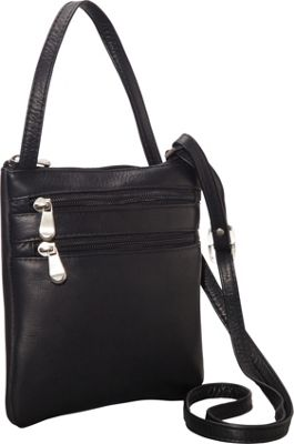 Le Donne Leather Two Zip Crossbody Minibag Black - Le Donne Leather Leather Handbags