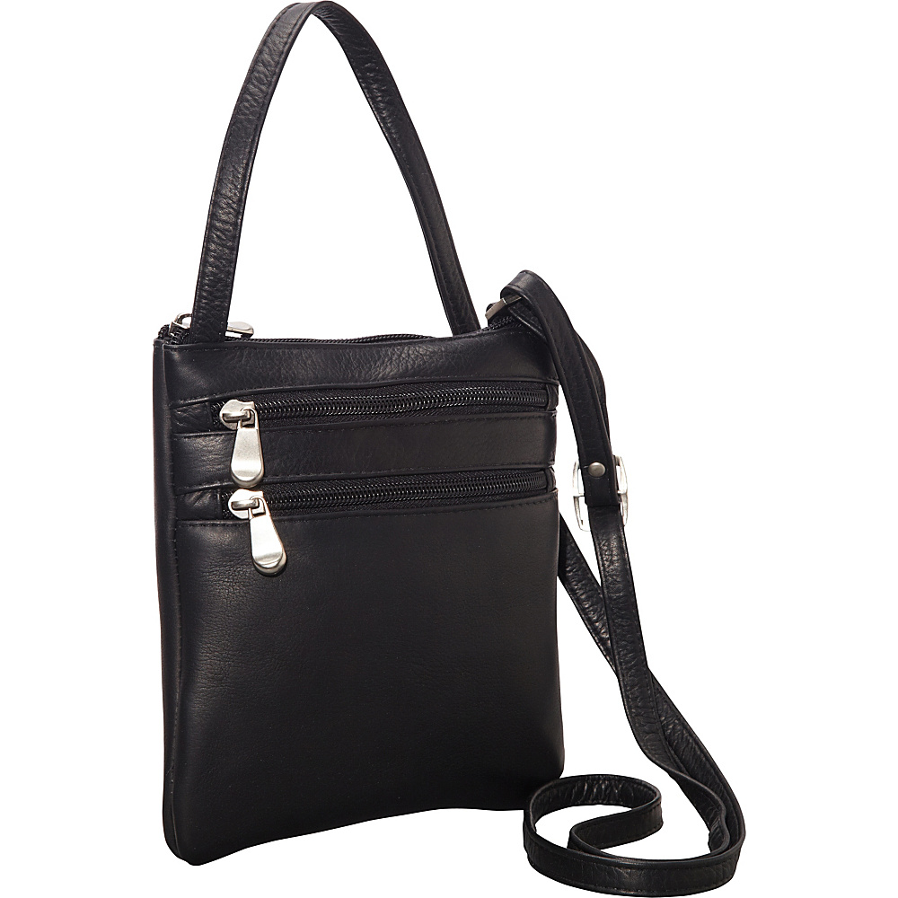 Le Donne Leather Two Zip Crossbody Minibag Black - Le Donne Leather Leather Handbags - Handbags, Leather Handbags