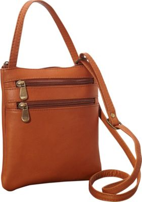 Le Donne Leather Two Zip Crossbody Minibag Tan - Le Donne Leather Leather Handbags