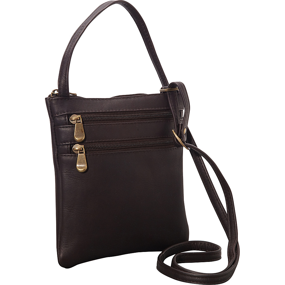 Le Donne Leather Two Zip Crossbody Minibag Cafe - Le Donne Leather Leather Handbags - Handbags, Leather Handbags
