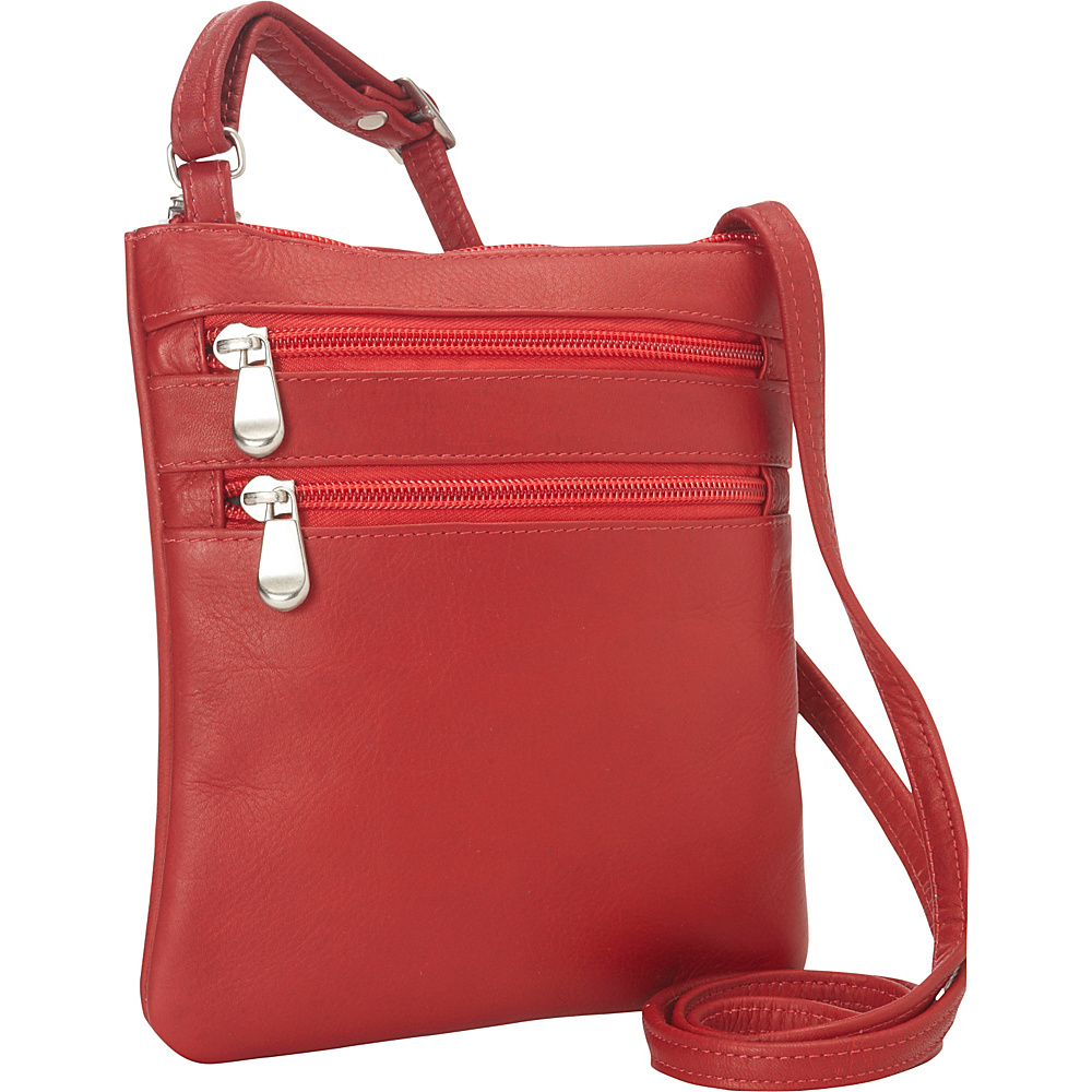Le Donne Leather Two Zip Crossbody Minibag Red - Le Donne Leather Leather Handbags - Handbags, Leather Handbags