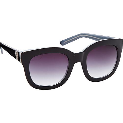Vince Camuto Eyewear Oversized Retro Cat Sunglasses with Crest Logo Black Grey