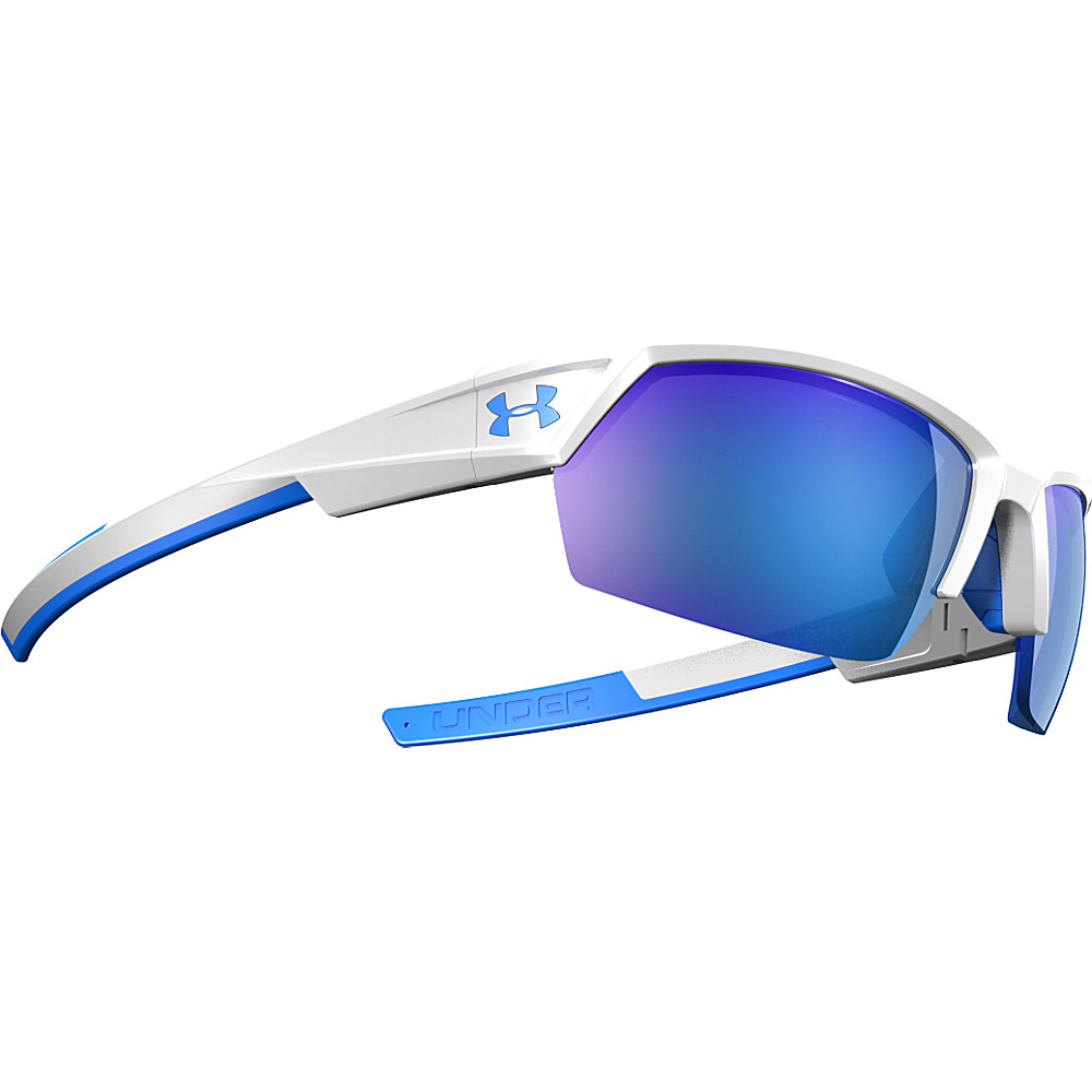 Under Armour Eyewear UA Igniter II Sunglasses White Exterior Blue Interior Blue Rubber ML Bl Under Armour Eyewear Sunglasses