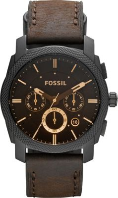 Fossil Men's FS4656 Machine Brown Leather Chronograph Guard