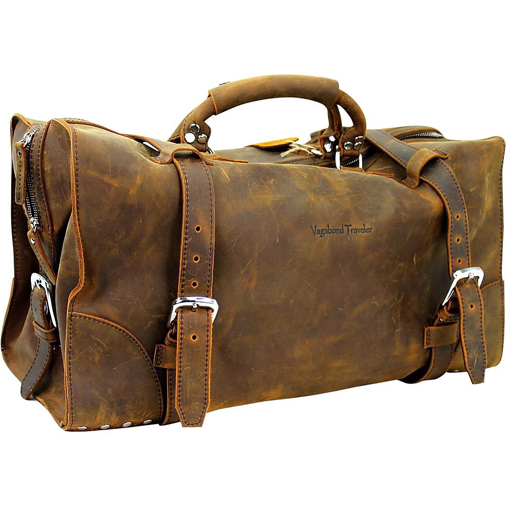 Vagabond Traveler 21 Cowhide Full Leather Travel Duffle Bag Vintage Brown - Vagabond Traveler Rolling Duffels - Luggage, Rolling Duffels