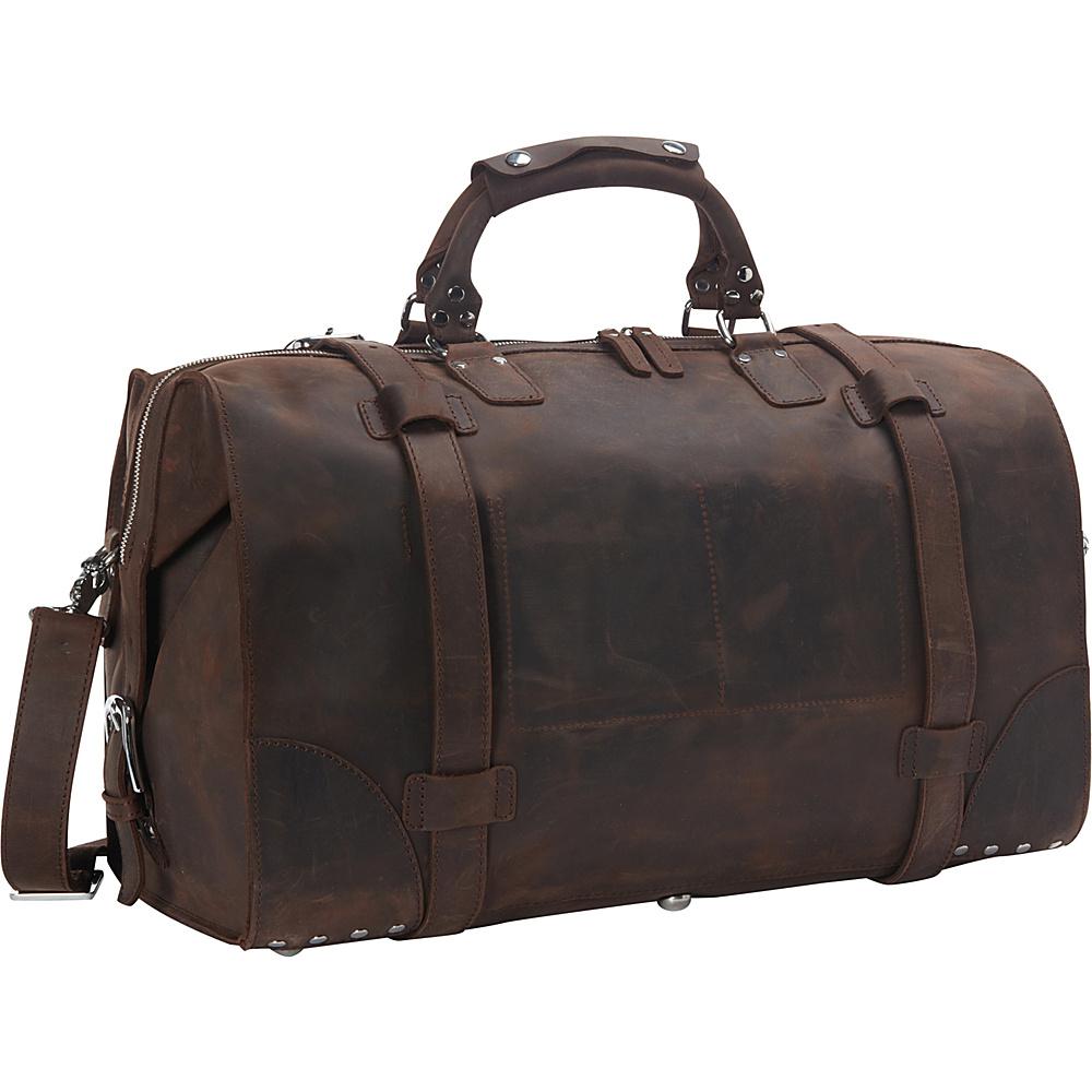 Vagabond Traveler 21 Cowhide Full Leather Travel Duffle Bag Dark Brown - Vagabond Traveler Rolling Duffels - Luggage, Rolling Duffels