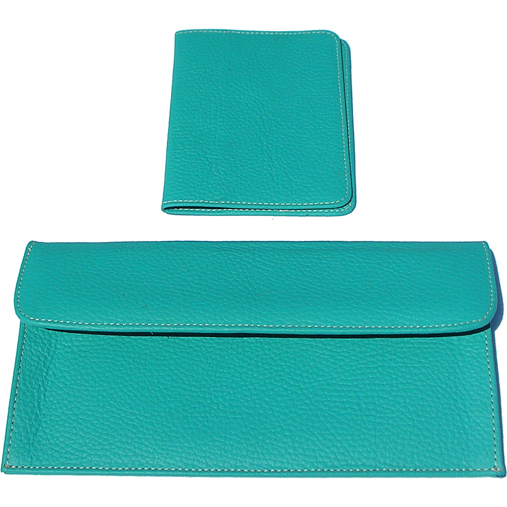 pb travel Luxury Leather Travel Pouch and Passport Cover Turquoise pb travel Travel Wallets