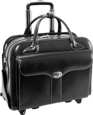 McKlein USA McKlein USA Berkeley 15 inch Leather Rolling Laptop Tote EXCLUSIVE Black - McKlein USA Wheeled Business Cases