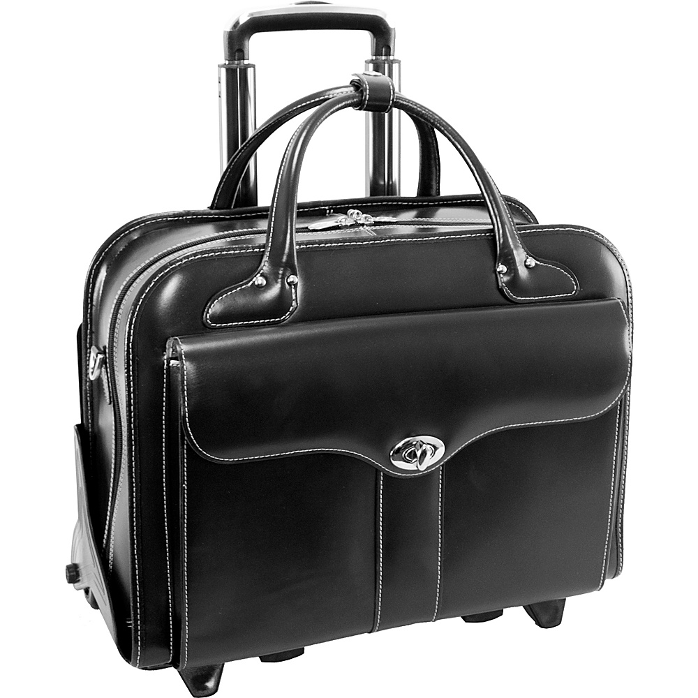 "McKlein USA Berkeley 15"" Leather Rolling Laptop Tote EXCLUSIVE Black - McKlein USA Wheeled Business Cases"