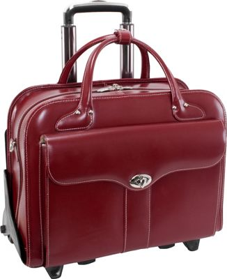 McKlein USA McKlein USA Berkeley 15 inch Leather Rolling Laptop Tote EXCLUSIVE Red - McKlein USA Wheeled Business Cases