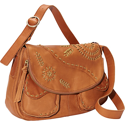 Lucky Brand Savannah Embroidery Flap Cognac - Lucky Brand Leather Handbags