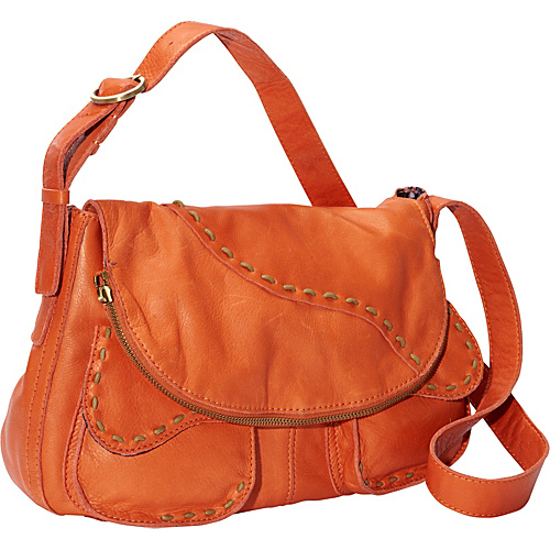 Lucky Brand Savannah Embroidery Flap Spice Orange - Lucky Brand Leather Handbags