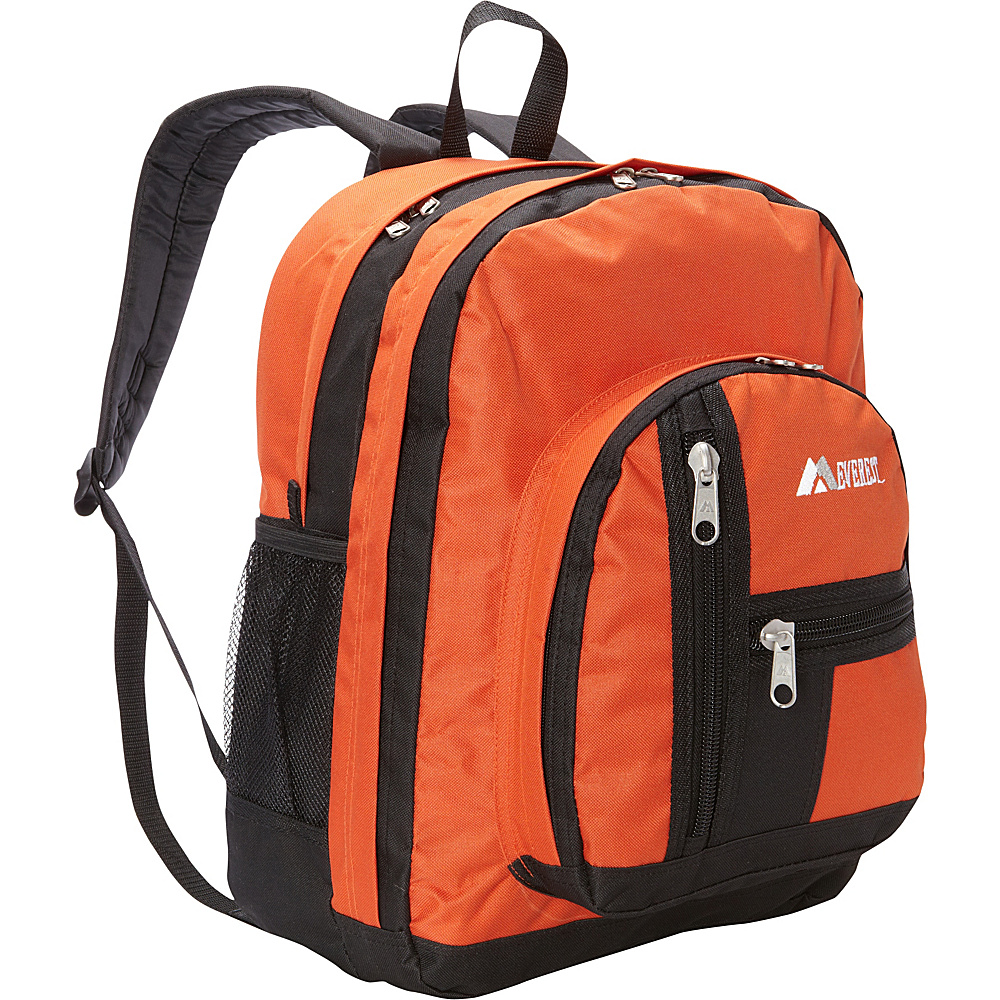 Everest Double Compartment Backpack Rust Orange/Black - Everest Everyday Backpacks