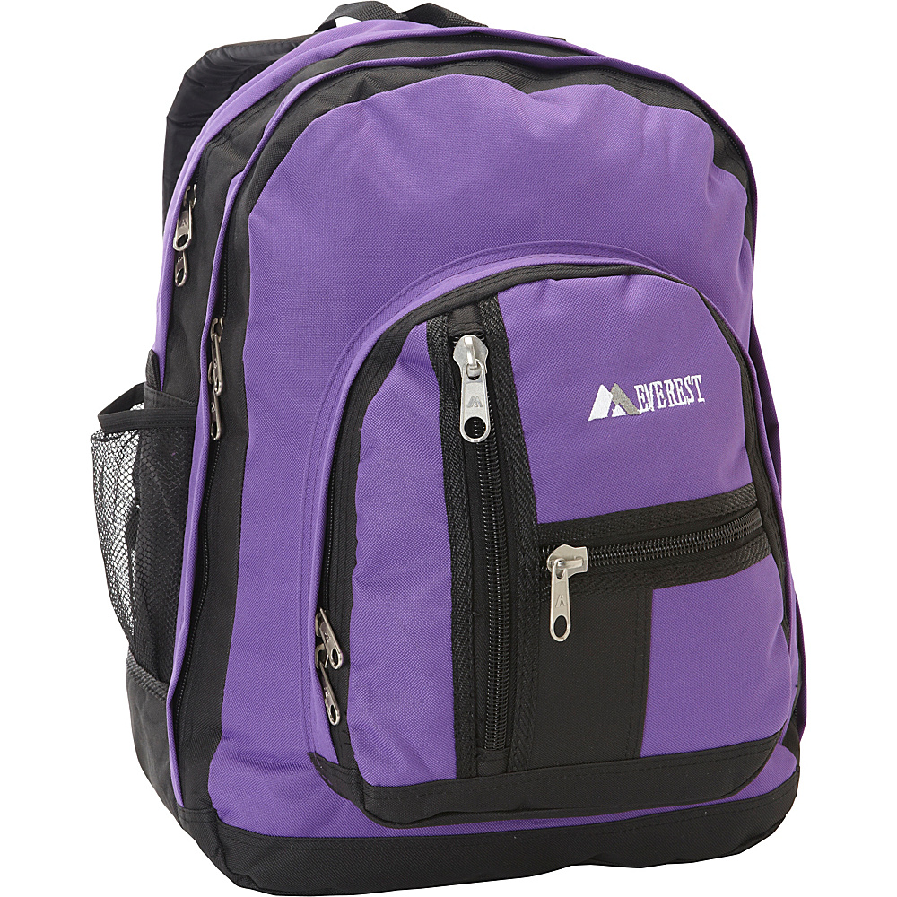 Everest Double Compartment Backpack Dark Purple / Black - Everest Everyday Backpacks