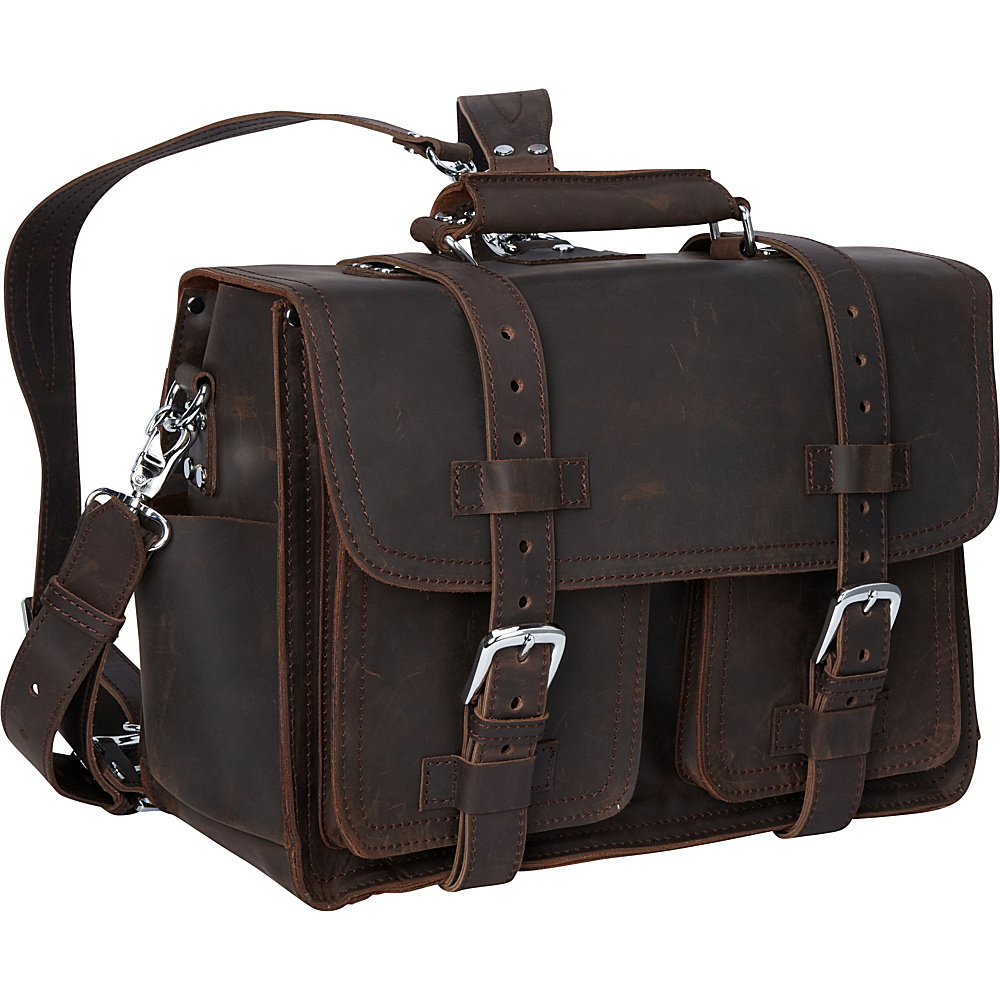 Vagabond Traveler 16 Leather Briefcase Travel Bag Dark Brown Vagabond Traveler Non Wheeled Business Cases