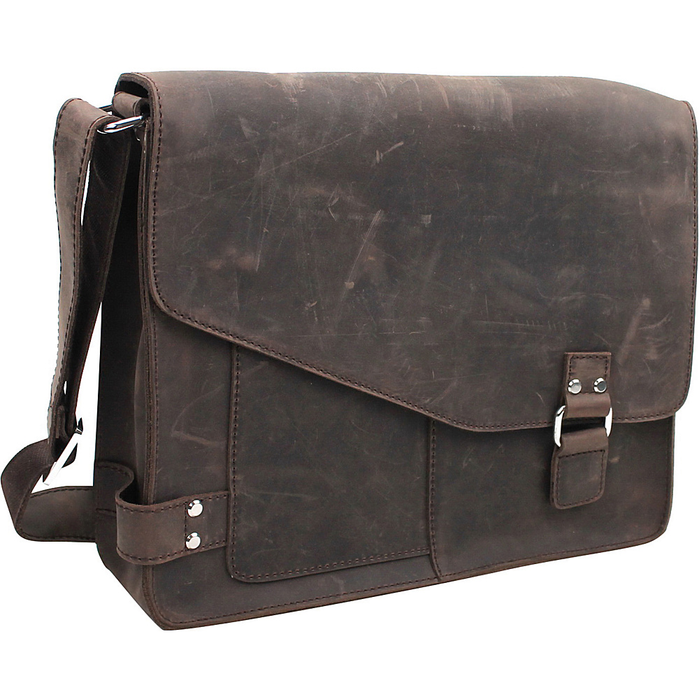 Vagabond Traveler 14 Leather Messenger Bag Dark Brown - Vagabond Traveler Messenger Bags - Work Bags & Briefcases, Messenger Bags