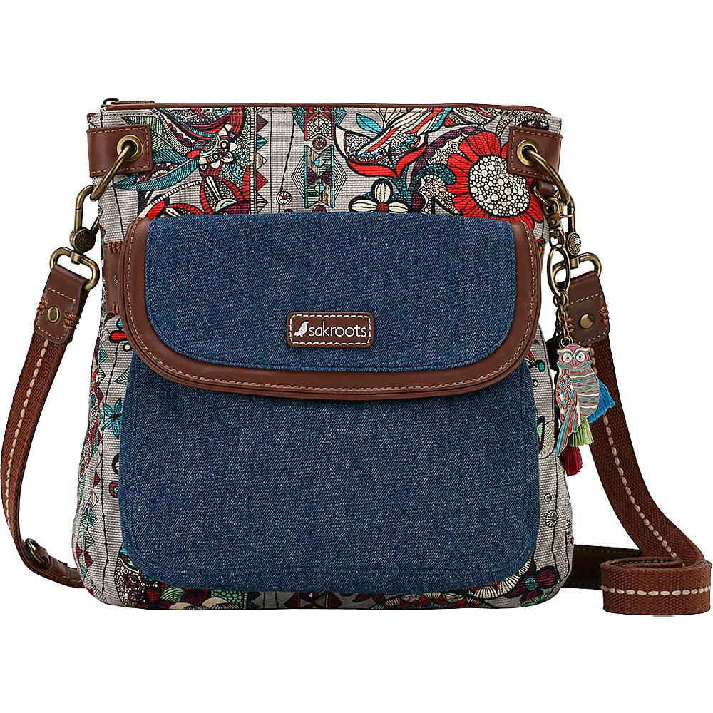 Sakroots Artist Circle Flap Crossbody Charcoal Spirit Desert - Sakroots Fabric Handbags - Handbags, Fabric Handbags