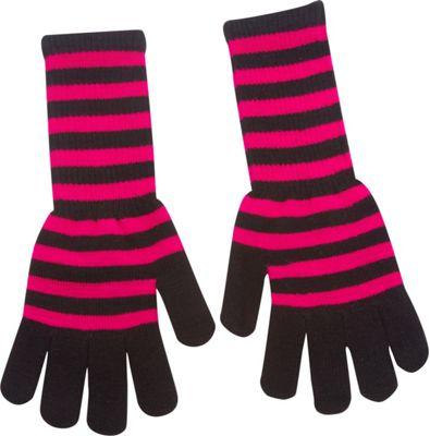 Magid Striped Long Glove Fuchsia/Black - Magid Hats/Gloves/Scarves