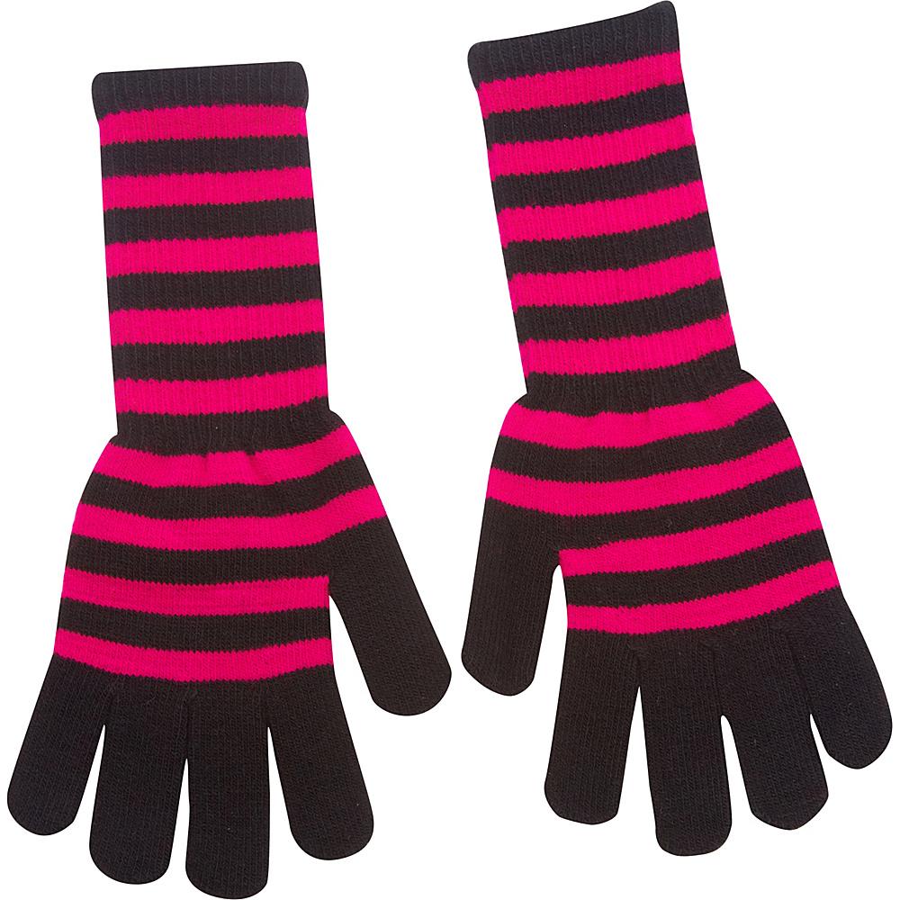 Magid Striped Long Glove Fuchsia Black Magid Hats Gloves Scarves