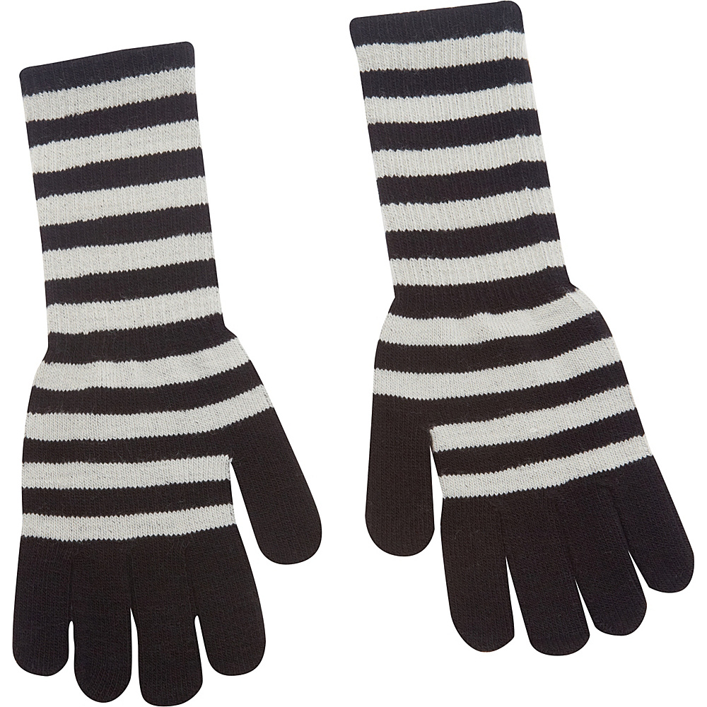 Magid Striped Long Glove Grey Black Magid Hats Gloves Scarves