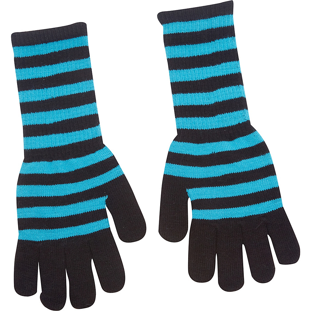 Magid Striped Long Glove Turquoise Black Magid Hats Gloves Scarves