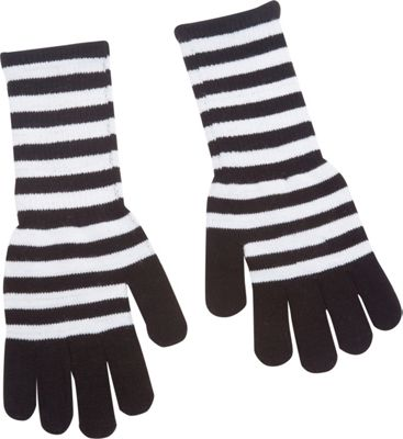 Magid Striped Long Glove White/Black - Magid Hats/Gloves/Scarves