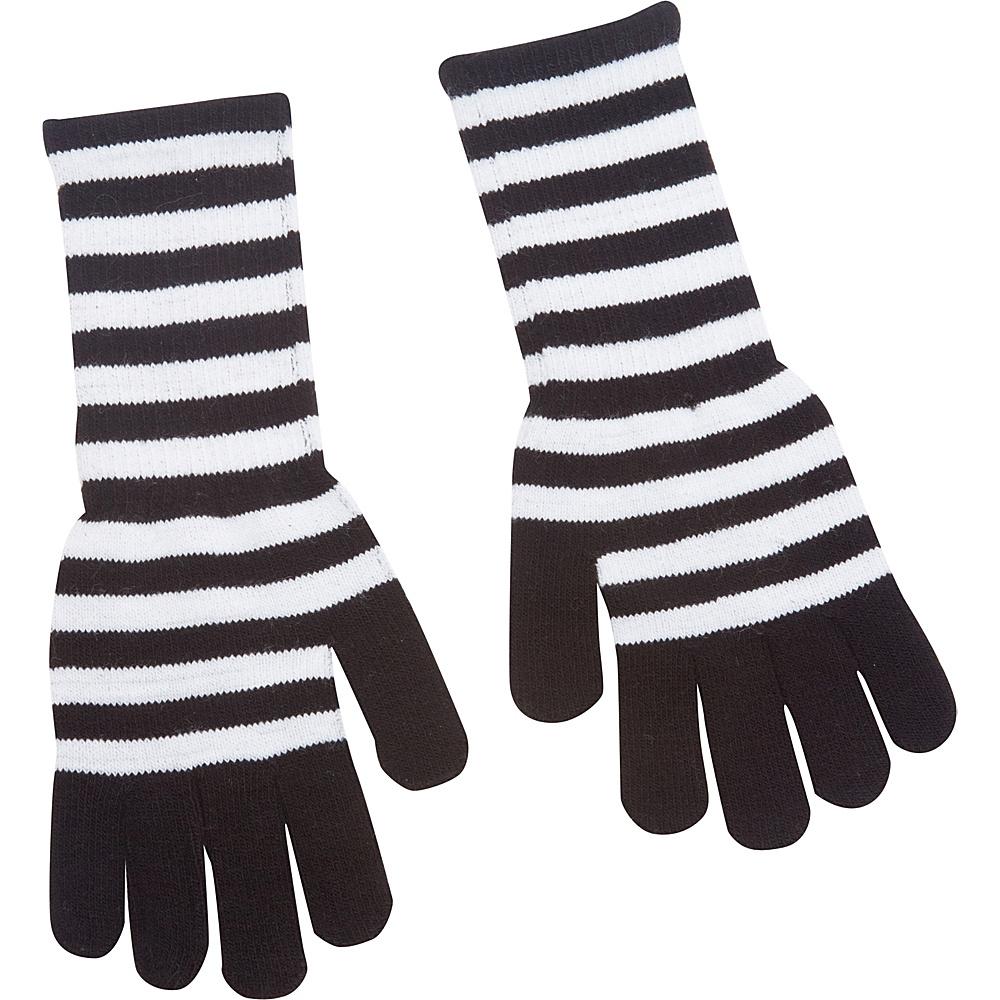 Magid Striped Long Glove White Black Magid Hats Gloves Scarves