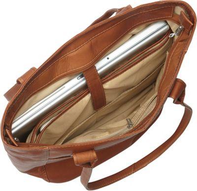 Piel XL Leather Laptop Tote Bag Saddle - Piel Women's Business Bags