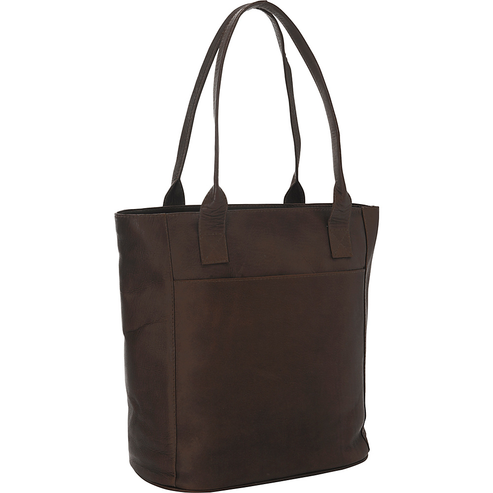 Piel XL Leather Laptop Tote Bag Chocolate - Piel Womens Business Bags - Work Bags & Briefcases, Women's Business Bags