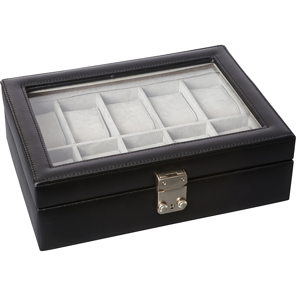 Royce Leather Debonair 10 Slot Watch Box Black - Royce Leather Business Accessories - Work Bags & Briefcases, Business Accessories
