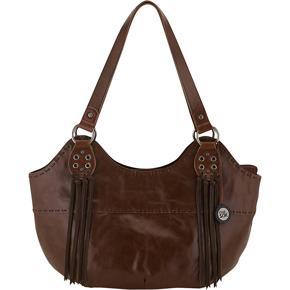 The Sak Indio Satchel Shoulder Bag Teak Fringe The Sak Leather Handbags
