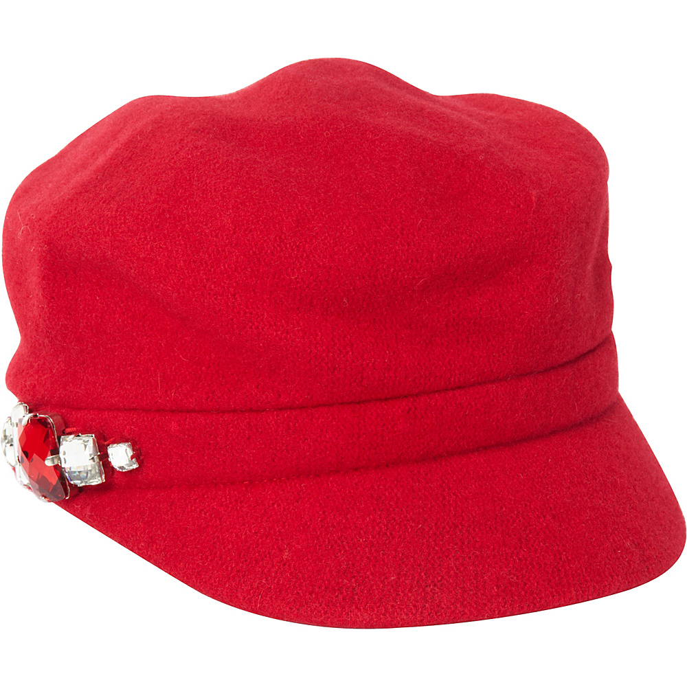 Betmar New York Rhinestone Cap Red Betmar New York Hats Gloves Scarves