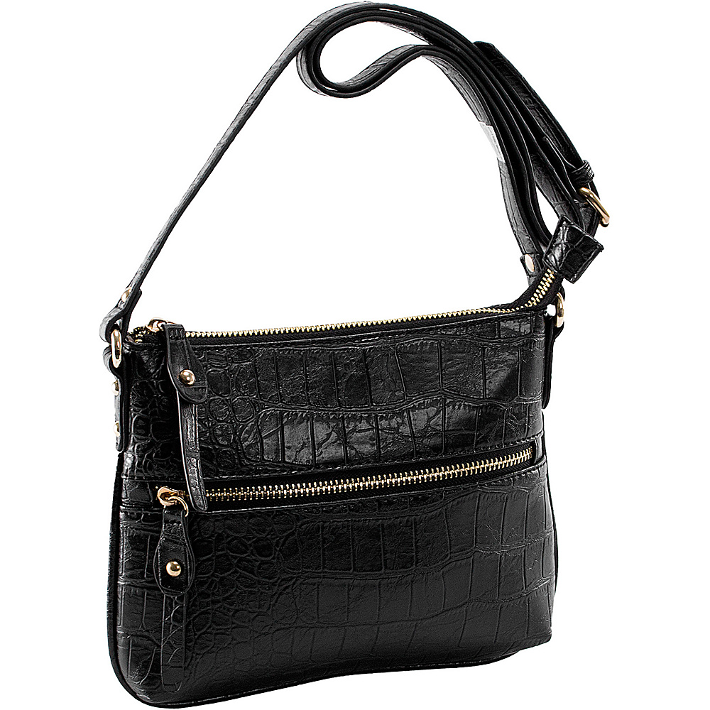 Parinda Ashen Black Croco Parinda Manmade Handbags