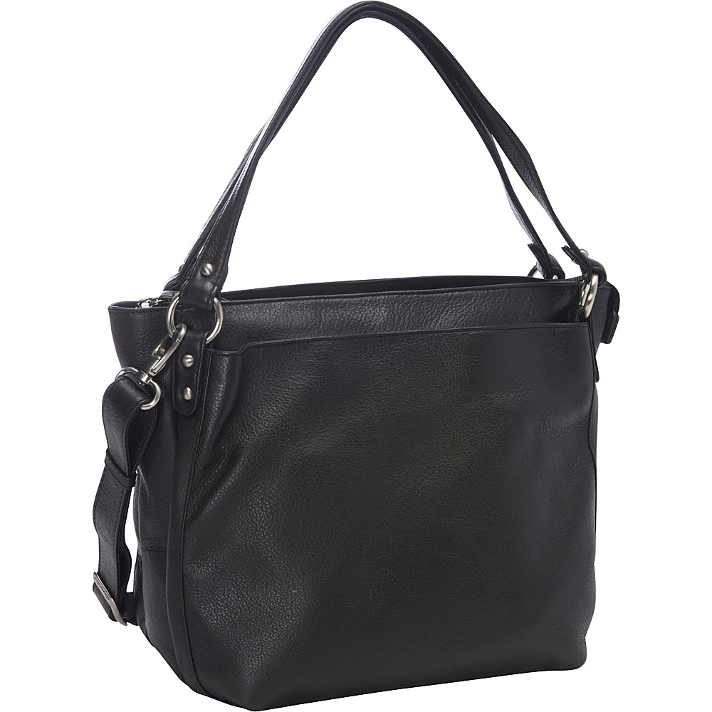 Derek Alexander Inset Top Zip Black - Derek Alexander Leather Handbags - Handbags, Leather Handbags