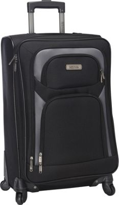 Kenneth Cole Reaction The Journey Continues Lightweight 24 inch 4 Wheel Expandable Upright Black - Kenneth Cole Reaction Softside Checked