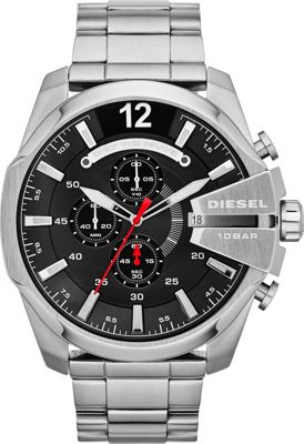 Diesel Watches Mega Chief Silver with Black Dial - Diesel Watches Watches