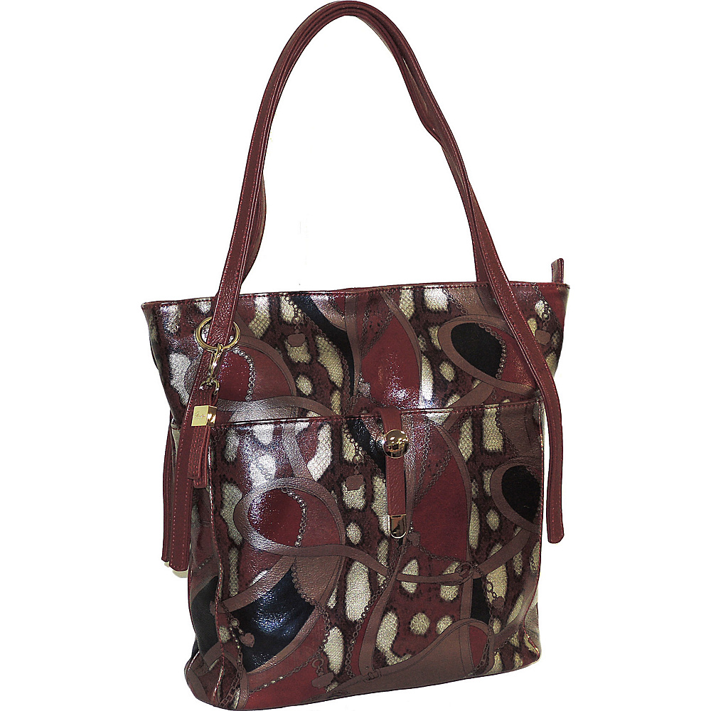Buxton Caitlin Tote Burgundy - Buxton Leather Handbags