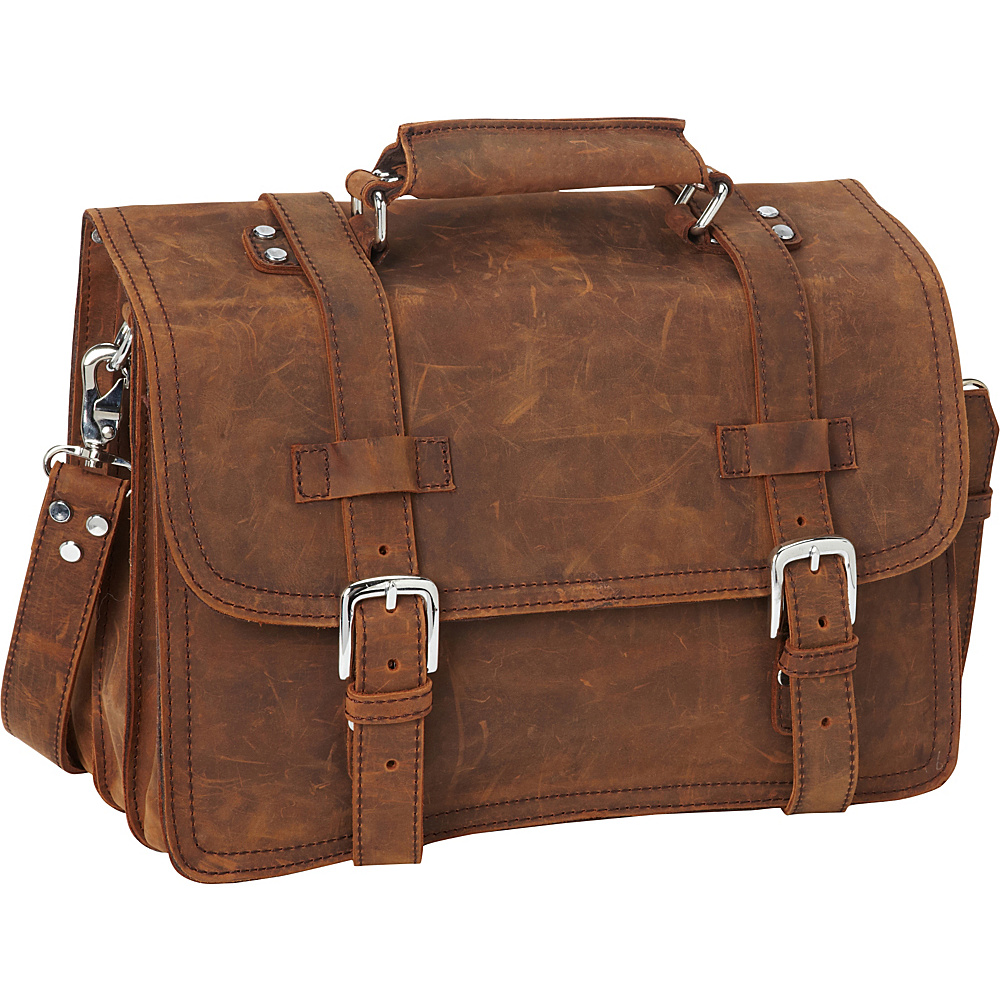 Vagabond Traveler 16 3-tier Pro Leather Briefcase Laptop Case Vintage Brown - Vagabond Traveler Non-Wheeled Business Cases - Work Bags & Briefcases, Non-Wheeled Business Cases
