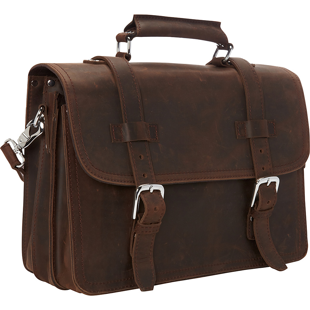 Vagabond Traveler 16 3-tier Pro Leather Briefcase Laptop Case Vintage Distress - Vagabond Traveler Non-Wheeled Business Cases - Work Bags & Briefcases, Non-Wheeled Business Cases