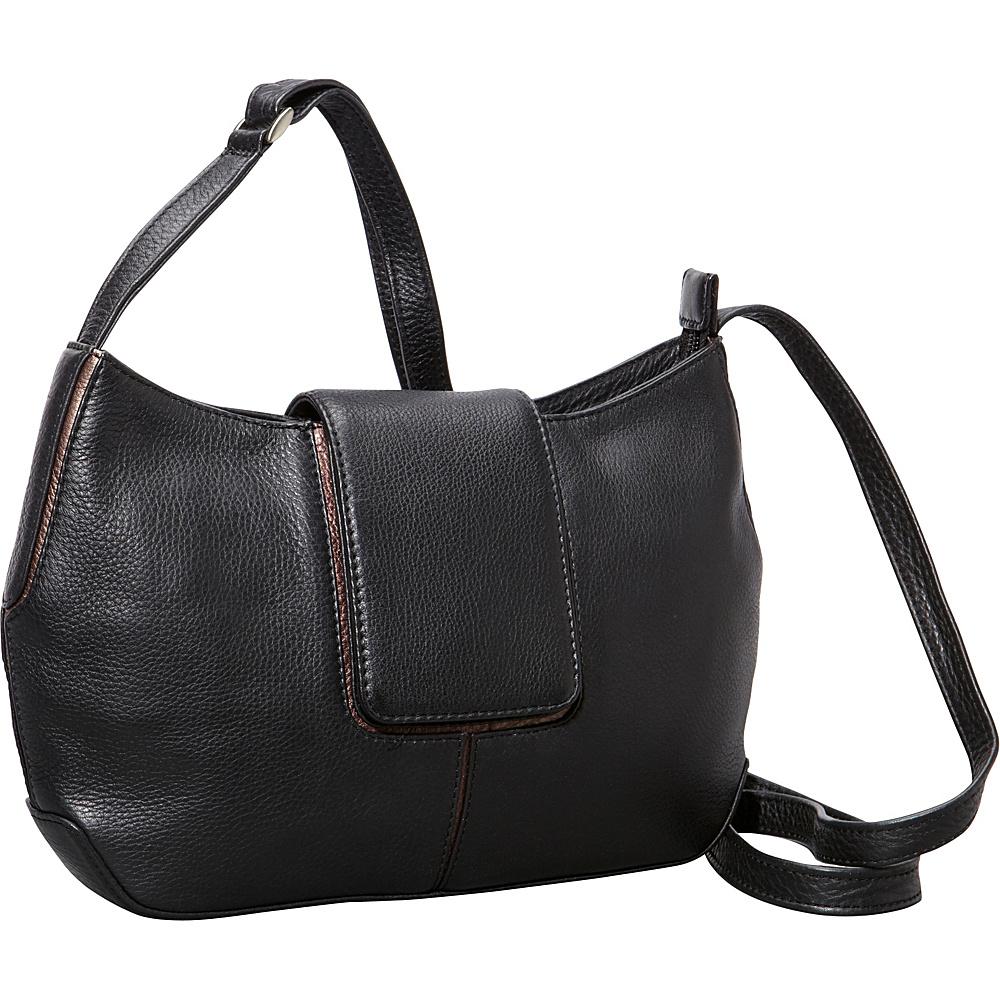 Derek Alexander Top Zip Half Moon Shape bag Black/Bronze - Derek Alexander Leather Handbags - Handbags, Leather Handbags