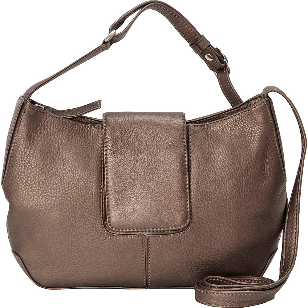 Derek Alexander Top Zip Half Moon Shape bag Bronze Derek Alexander Leather Handbags