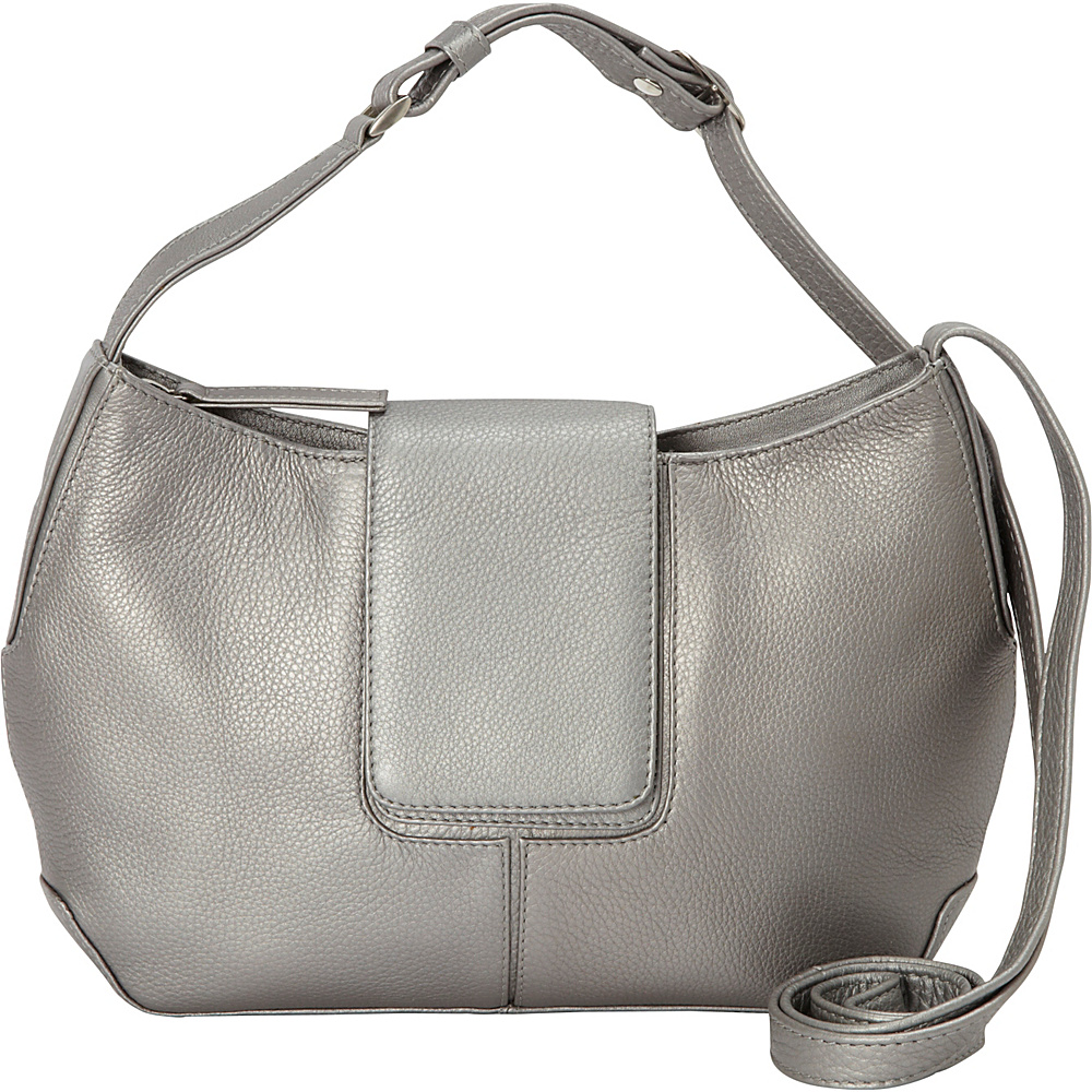Derek Alexander Top Zip Half Moon Shape bag Silver Derek Alexander Leather Handbags
